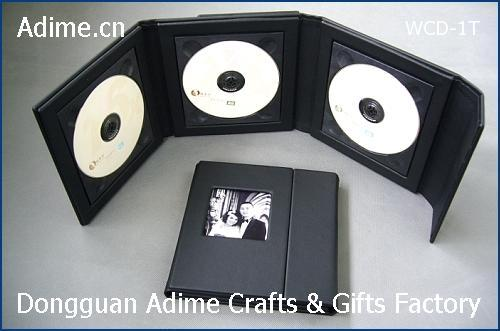Triple CD DVD Case Leather