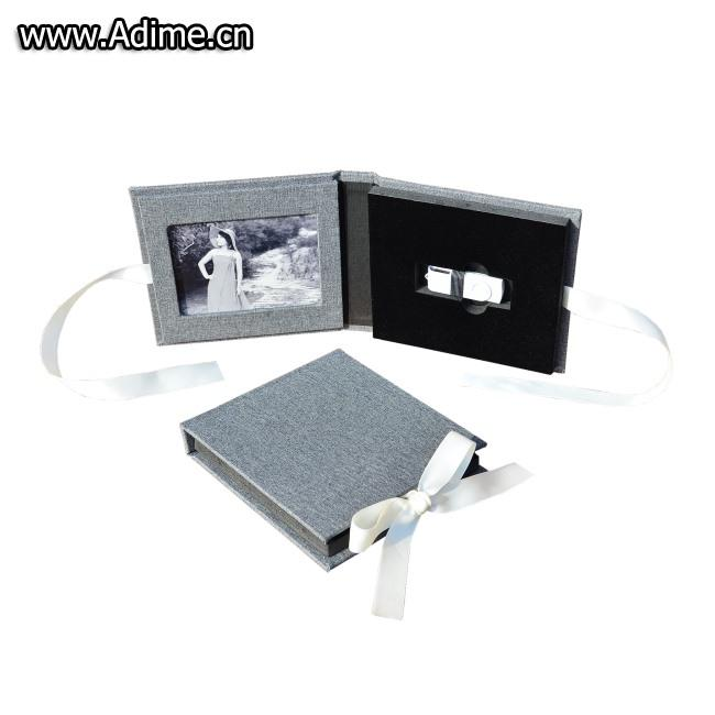 Leather Linen Photo USB Case