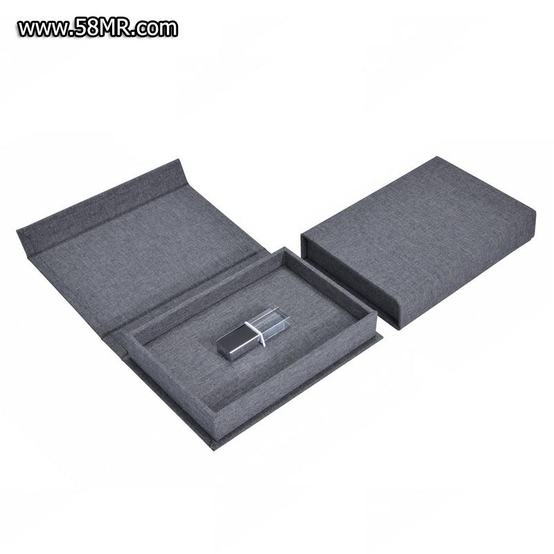 Linen USB Flash Drive Packaging Case with Magnet Closure
