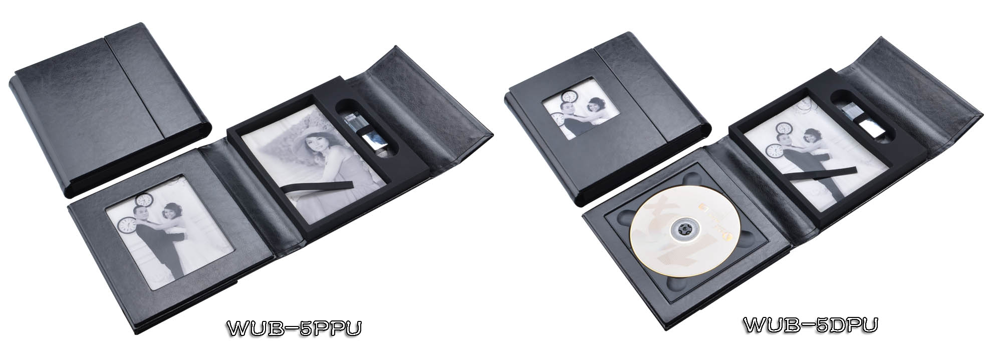 Black Leather CD DVD Photo USB Case